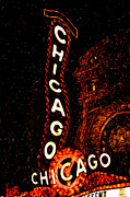 Lit Digital Art Posters - Chicago Theatre Sign at Night Digital Painting Poster by Paul Velgos