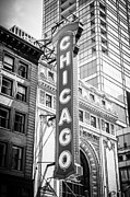 Theatre Photo Framed Prints - Chicago Theatre Sign Black and White Picture Framed Print by Paul Velgos