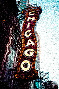 Exterior Digital Art Framed Prints - Chicago Theatre Sign Digital Art Framed Print by Paul Velgos