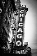 Famous Buildings Posters - Chicago Theatre Sign in Black and White Poster by Paul Velgos