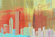 Vintage Map Mixed Media Posters - Chicago Town Poster by Brandi Fitzgerald
