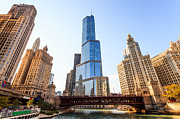 Downtown Metal Prints - Chicago Trump Tower At Michigan Avenue Bridge Metal Print by Paul Velgos