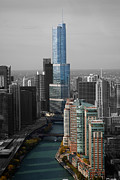 Thomas Woolworth Photography Posters - Chicago Trump Tower Blue Selective Coloring Poster by Thomas Woolworth