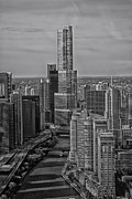 Landscapes Digital Art Acrylic Prints - Chicago Trump Tower in Black and White Acrylic Print by Thomas Woolworth