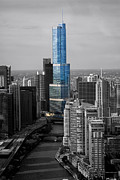 Sears Tower Digital Art - Chicago Trump Tower Selective Coloring 02 by Thomas Woolworth
