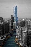 Willis Tower Digital Art - Chicago Trump Tower Selective Coloring by Thomas Woolworth