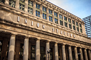 Columns Metal Prints - Chicago Union Station Building and Sign Metal Print by Paul Velgos