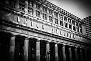 White Pillars Posters - Chicago Union Station in Black and White Poster by Paul Velgos