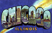 Chicago Digital Art Metal Prints - Chicago Vintage Design Metal Print by World Art Prints And Designs