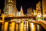 Architecture Metal Prints - Chicago Wabash Avenue Bridge at Night Picture Metal Print by Paul Velgos
