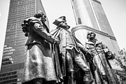 George Washington Photo Prints - Chicago Washington Morris Salomon Statue Black and White Picture Print by Paul Velgos
