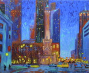 Chicago At Night Paintings - Chicago Water Tower at Night by J Loren Reedy