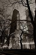 Night Photo Posters - Chicago Water Tower B W Poster by Steve Gadomski