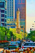 Michigan Avenue Prints - Chicago Water Tower Beacon Print by Christopher Arndt