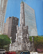 Chicago Landmark Paintings - Chicago Water Tower by Jeffrey Oleniacz