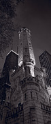 Water Tower Photos - Chicago Water Tower Panorama B W by Steve Gadomski