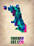 Modern Poster Framed Prints - Chicago Watercolor Map Framed Print by Irina  March