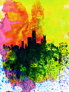 Chicago Watercolor Skyline Print by Irina  March