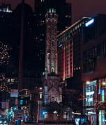 Watertower Prints - Chicago Watertower at Christmas Print by Barry Poole