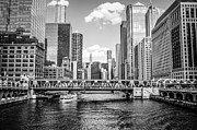Airlines Prints - Chicago Wells Street Bridge Black and White Picture Print by Paul Velgos
