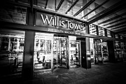 Tallest Framed Prints - Chicago Willis-Sears Tower Sign in Black and White Framed Print by Paul Velgos