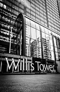 Editorial Framed Prints - Chicago Willis Tower Sign in Black and White Framed Print by Paul Velgos