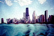 John Hancock Building Posters - Chicago Windy City Digital Art Painting Poster by Paul Velgos