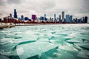 Illinois Framed Prints - Chicago Winter Skyline Framed Print by Paul Velgos