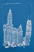 Printed Drawings - Chicago Wrigley and Hancock Bldgs Silkscreen Print by Robert Birkenes