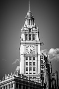 Black Top Framed Prints - Chicago Wrigley Building Clock Black and White Picture Framed Print by Paul Velgos