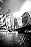 Downtown Prints - Chicago Wrigley Tribune Equitable Buildings Black and White Phot Print by Paul Velgos