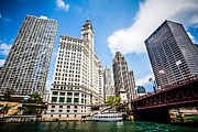 Michigan Prints - Chicago Wrigley Tribune Equitable Buildings Picture Print by Paul Velgos