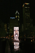 Expressions Posters - Chicagos Crown Fountain at night Poster by Christine Till