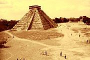 Buy Posters Online Digital Art - Chichen Itza Yucatan Mexico - Old Sepia by Peter Art Print Gallery  - Paintings Photos Posters