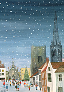 Watercolor Landscapes Posters - Chichester Cathedral A Snow Scene Poster by Judy Joel