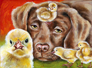 Funny Pet Paintings - Chick sitting afternoon by Hiroko Sakai