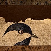 Sepia Digital Art Prints - Chickadee Print by Carol Leigh