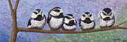 Chickadee Pastels Framed Prints - Chickadee Chicks Framed Print by George Burr