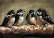 Lisa Phillips Owens Painting Prints - Chickadee Chicks Print by Lisa Phillips Owens