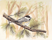 Chickadee Drawings Prints - Chickadee Chirper Print by Syl Lobato