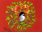 Christmas Greeting Pastels Framed Prints - Chickadee Holiday Greeting Card Framed Print by Judy Filarecki