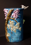 Blue Flowers Ceramics - Chickadee Lilac butterfly vase hand built in the USA by Debbie Limoli