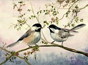 Melly Terpening Paintings - Chickadee Love by Melly Terpening