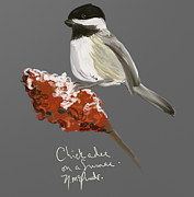 Winter Scene Digital Art Prints - Chickadee on a Sumac Print by Naomi McQuade