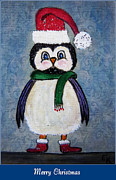 Claus Mixed Media Posters - Chickadee Santa Claus - Merry Christmas Poster by Ella Kaye