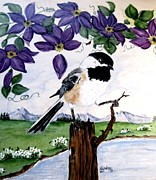 Mountains Ceramics Posters - Chickadee with Blue Clematis Poster by Sandra Maddox