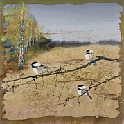 Autumn Landscape Tapestries - Textiles Prints - Chickadees and a row of Birch Trees Print by Carolyn Doe