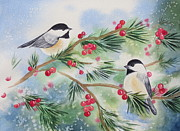 Black Berries Framed Prints - Chickadees Framed Print by Deborah Ronglien