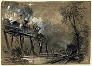 Coal Drawings Prints - Chickahominy Trestle Destruction - 1862 - Civil War Print by Daniel Hagerman