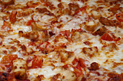 Mozzarella Prints - Chicken And Diced Tomato - Pizza - Pizza Shoppe Print by Andee Photography